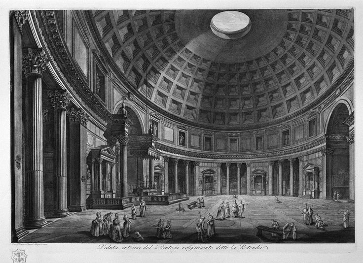 Interior view of the Pantheon commonly known as the Rotunda ...