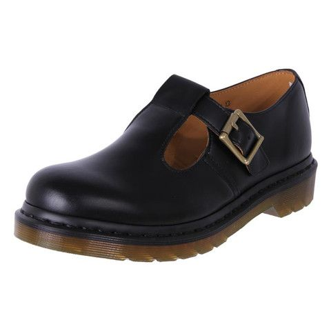 ad250aa63ba62 Girl's Dr. Martens Docs T Bar Leather School Shoes Polley Black | The Shoe  Link | Shoes!! | Shoes, Leather school shoes, T bar shoes