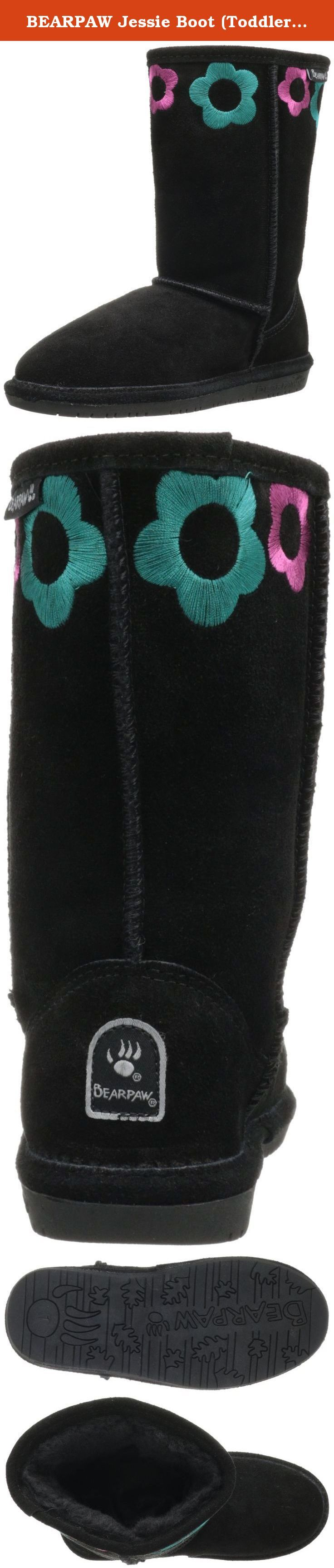 BEARPAW Jessie Boot (Toddler/Little Kid),Black,5 M US Toddler/Little Kid. You're only a kid once...Let those little personalities sparkle and shine through your kids Bearpaw winter boots. Keep them comfortable and warm this winter with these Bearpaw Jessie boots featuring embroidery detailing and a variety of color.