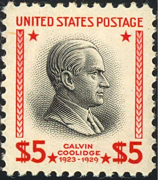 Calvin Coolidge 1938 Issue-$5. On November 17, 1938 the US Post Office issued the 5 dollar value of the Presidential series of that year. This remained Coolidge's sole appearance on U.S. stamps until 1986, when the Post Office releases a series of stamps, one honoring each deceased president at that time.[1] The model for this engraving was taken from a medal struck by John R. Sinnock of the US Mint. Among the Presidential Issues this stamp is the most difficult to find on cover.