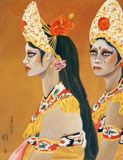 (Korea) Interlude,1983 by Chun Kyung-ja (1924-2015). 천경자. 막간.