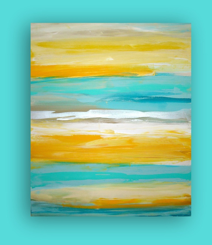 "ART Yellow Turquoise Original Abstract Painting Modern Contemporary Fine Art  Gallery Canvas Titled: LEMONDROP. 30x36x1.5"" by Ora Birenbaum. $345.00, via Etsy."