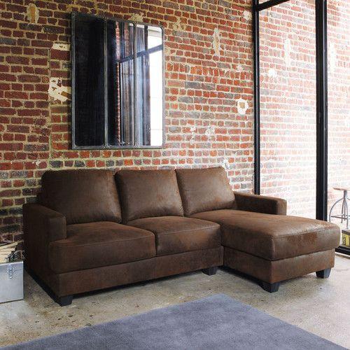 Canapé d'angle droit 3/4 places en suédine marron