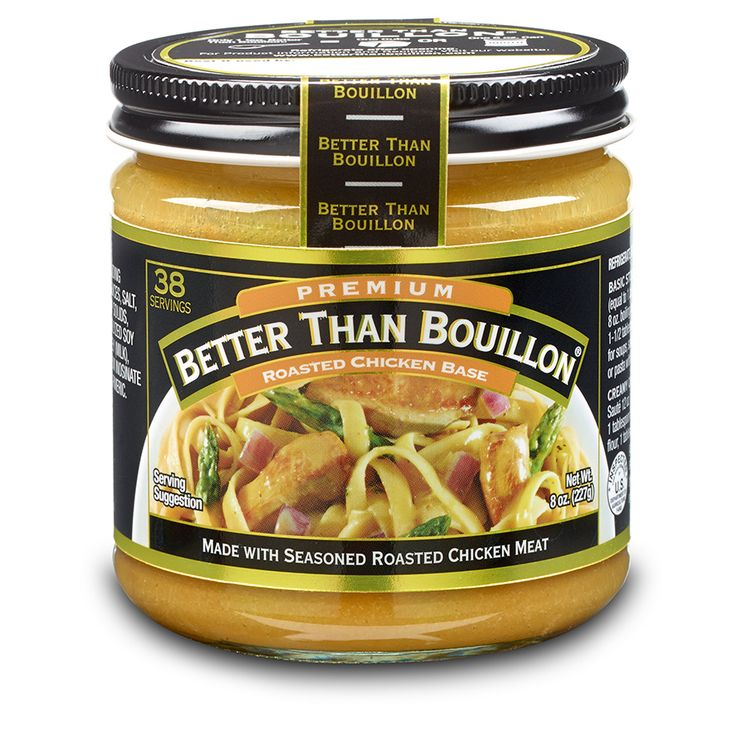 Use instead of cubed bouillon. This is great on and in everything. One of my favorites is to rub down a potato skin before baking, it's like magic. Better Than Bouillon Roasted Chicken Base is one of our signature products. Use it to create an amazing chicken soup or add it to rice to give it that robust flavor your family is looking for.