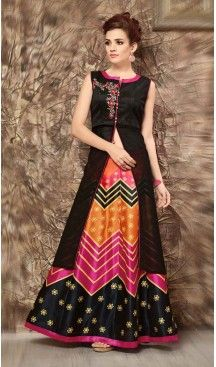 Silk Lehenga Style Readymade Party Wear Dress in Black Color | FH523079258 #heenastyle , #salwar , #kameez , #suits , #anarkali , #party, #wear , #panjabi , #patiyala , #abaya , #style , #indian , #fashion , #designer , #bridel , #evening , #formal , #office , #deaily , #dupatta , #churidar , #palazo , #plazzo , #nerrow , #pant , #dress , #dresses , #fashion , #boutique , #mode , #henna , @heenastyle , #latest , #gowns , #pakistani , #readymade , #stitched , #plus , #size , #islamic
