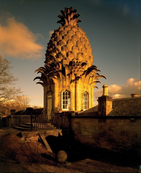 "indefenseofart: "" The Pineapple, 1761, Dunmore Park, Scotland. This pineapple shaped cupola is attached to a hothouse which was actually used to grow Pineapples. The design of this building is often attributed to William Chambers and the current..."