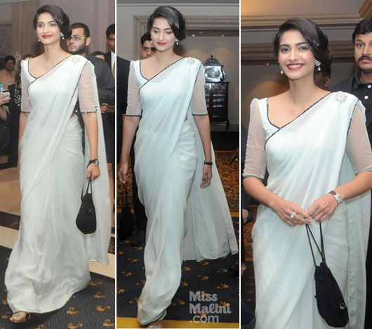 Sonam Kapoor in a Mint Green Sari by Shehla Khan! - MissMalini