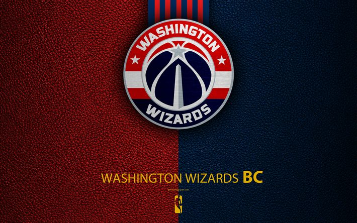 Download wallpapers Washington Wizards, 4k, logo, basketball club, NBA, basketball, emblem, leather texture, National Basketball Association, Washington, USA, Southeast Division, Eastern Conference