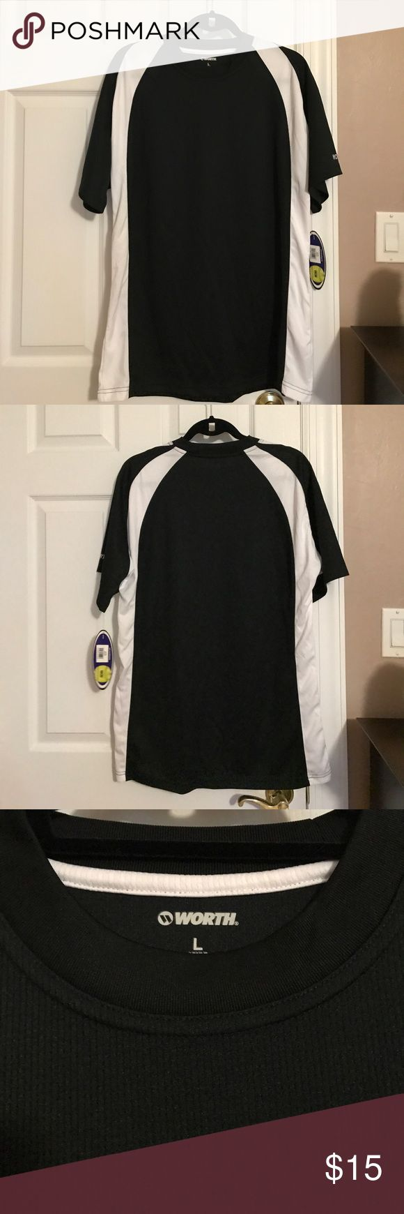 "Worth Softball Jersey Black and whites ladies softball jersey . Short sleeves and round neck . 100% polyester. 30"" shoulder to bottom. 23"" armpit to armpit. NWT. Worth Tops"