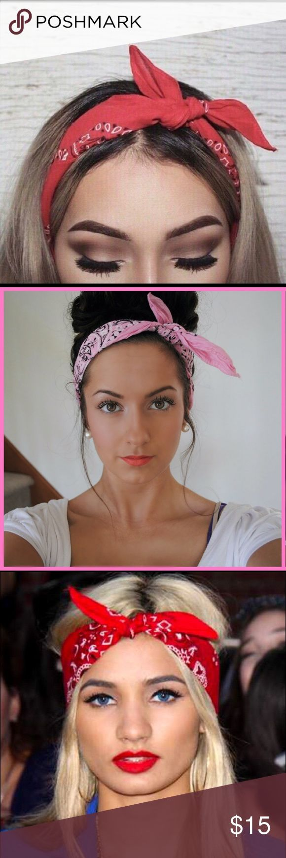 Bandana headband Red bandana that has so many ways to be used! My favorite style is a classic headband or scarf. Brandy Melville Accessories Hair Accessories
