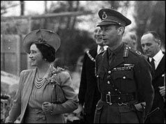 George VI and Elizabeth - His Majesty, King George VI, has died peacefully in his sleep at Sandringham House. The official announcement from Sandringham, given at 1045 GMT, said the King retired in his usual health, but passed away in his sleep and was found dead in bed at 0730 GMT by a servant. He was 56, and was known to have been suffering from a worsening lung condition. Princess Elizabeth, who is at the Royal hunting lodge in Kenya, immediately becomes Queen at the age of 25.