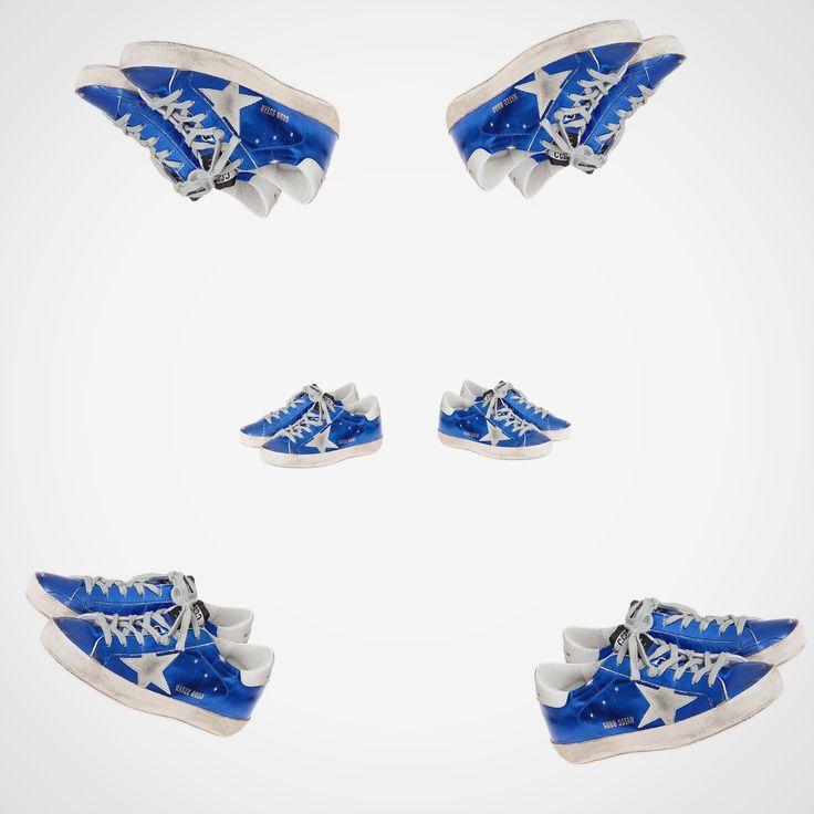 We love sneakers!! Superstar Laminated Bluette