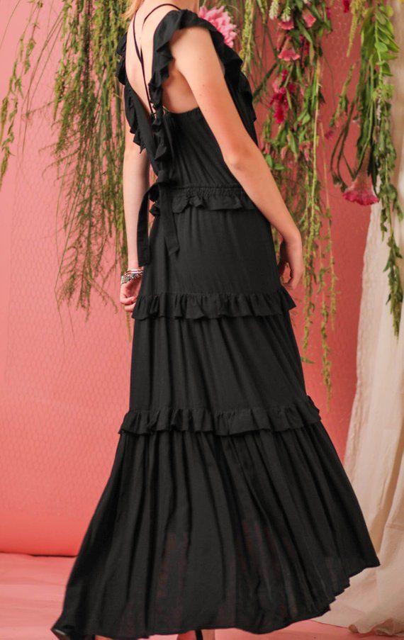 Bohemian Dresspinafore Dressapron Dressblack Maxi Etsy In 2020 Maxi Dress Wedding Maxi Dress Cocktail Black Maxi Dress