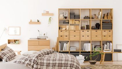 MUJI bedroom- I love the combination of the light wood and the neutral/blue-gray plaid