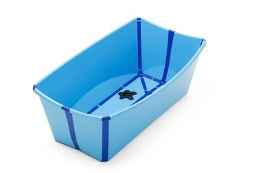 Blue Stokke Flexibath tub for babies and children up to 4 years old. A lightweight bathing solution that folds flat for easy portability and storage. Can also be used as a toy box, foot bath and more.