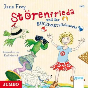 Dank Frieda und all ihrer verrückten Ideen ist in Friedas Familie ist immer eine Menge los. Sie muss die Oma daran hindern, auszuwandern, die beste Freundin zu einem Casting begleiten, das Kindermädchen ausgetricksen und Geld für die Patenschaft eines afrikanischen Mädchens besorgen. Ihre Ideen sind prinzipiell gut, nur manchmal scheitert es an der Umsetzung und böse kann man ihr einfach nicht sein... Jana Frey, Störenfrieda und der Rückwärtsflohmarkt. Gelesen von Karl Menrad. Jumbo, 2 CDs…