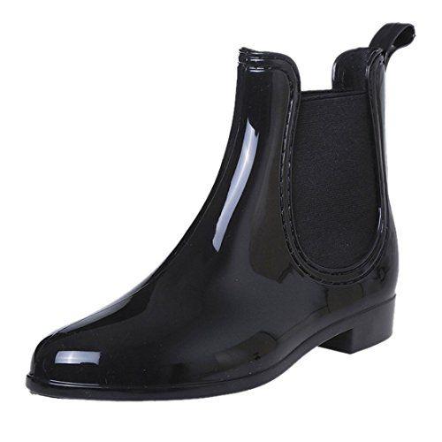 QIYUN.Z Chelsea Stil Schwarze Pvc Wasserdichte Regen Stiefel Frauenknoechel Flache Ferseschuhe - http://on-line-kaufen.de/qiyun-z/qiyun-z-chelsea-stil-schwarze-pvc-wasserdichte