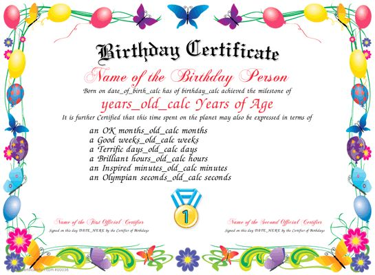 60 best Certificates images on Pinterest Celebrations, For girls - birthday certificate templates free printable