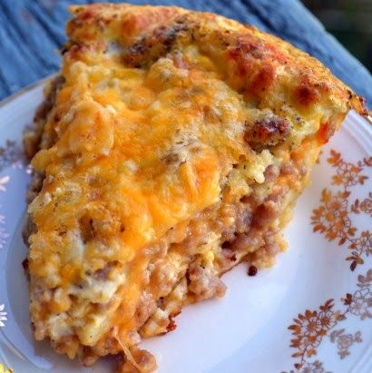 Monterey Sausage Pie ~ A cheesy blend of eggs, sausage, and other staple ingredients that's great for either dinner or breakfast!