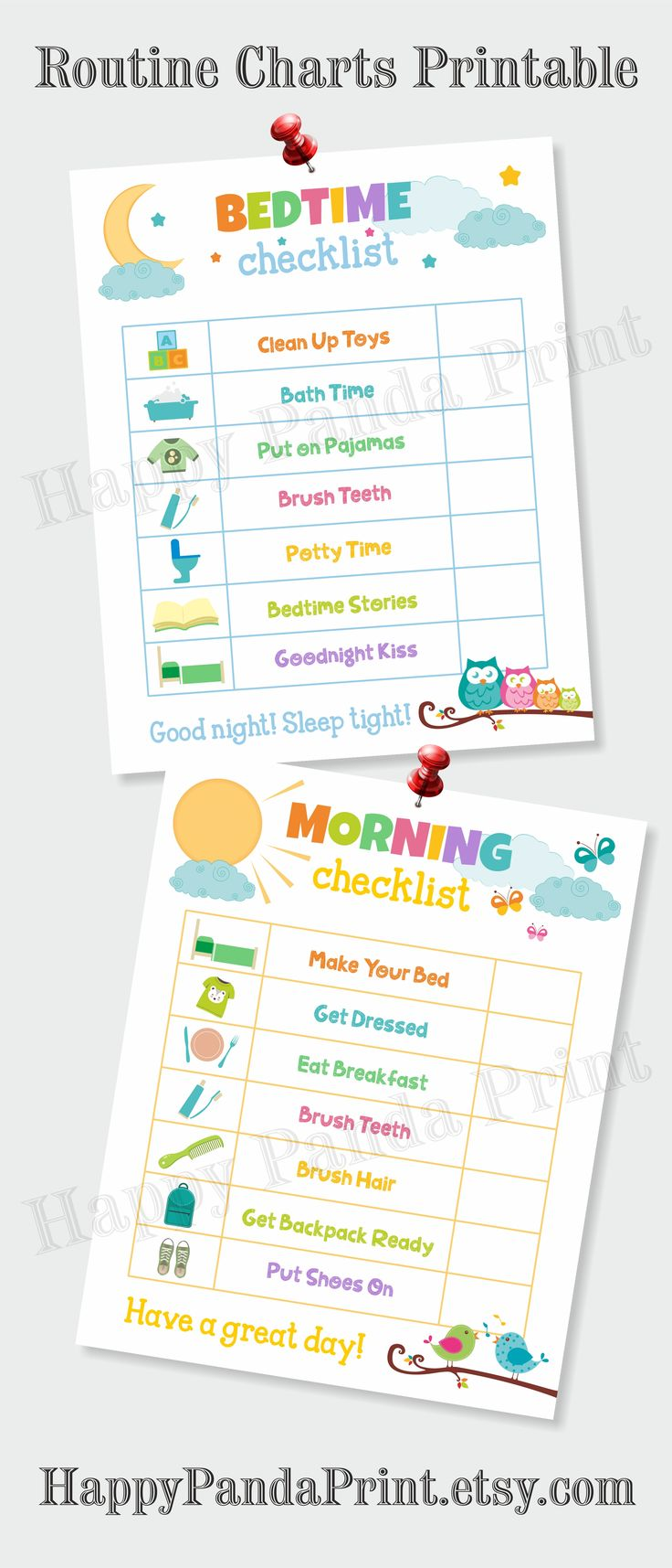 MORNING AND BEDTIME Checklist Printable, Morning Routine Checklist, Bedtime Routine Checklist, Morning Chart, Bedtime Chart, Kids Chart, To Do List, Organizational Printables, Kids Organizational Prints, Routine Charts