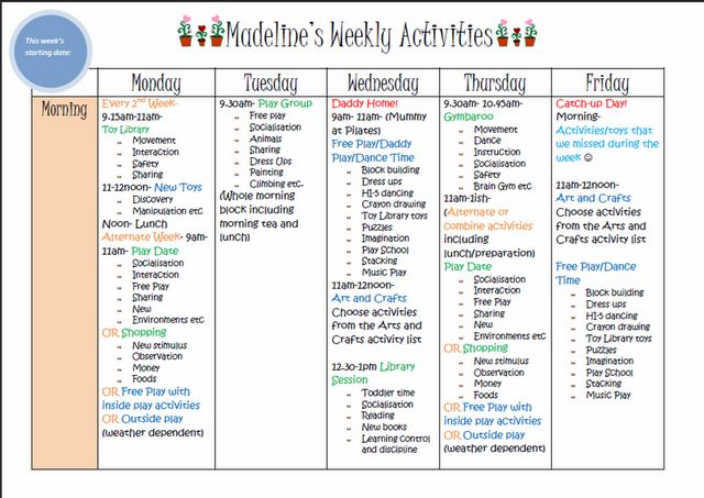 Weekly Kids Activity Plannerblank one included to make your own to