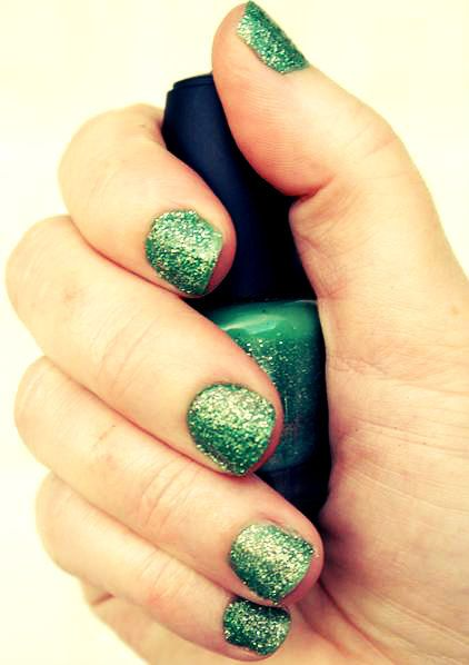 """Green and Gold Glitter Nail Polish - """"Mermaid"""" - Only One Coat Needed, Long Wear. $5.00, via Etsy."""