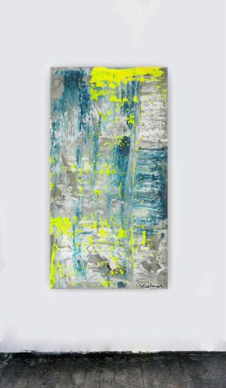 Huge abstract modern teal blue yellow grey by studioARTificial