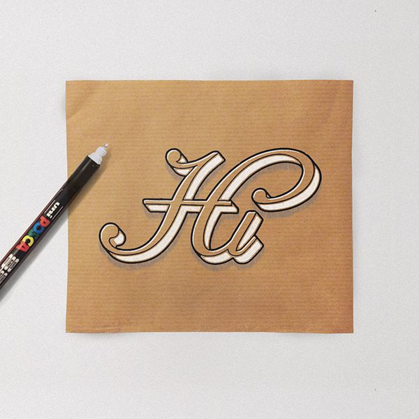 Hand lettering on Kraft paper on Behance