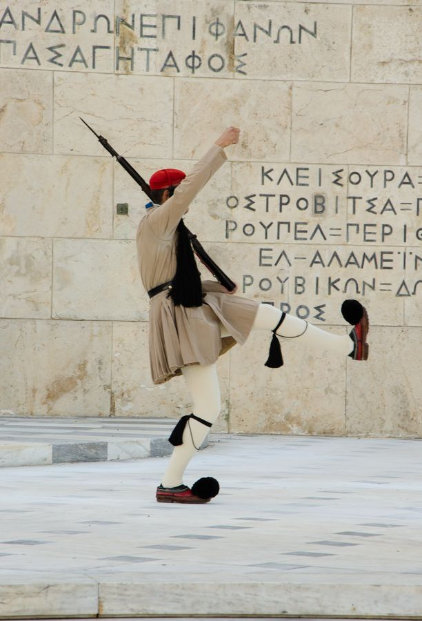 Greek Evzone Soldier during guard change, Athens , Greece // http://www.youtube.com/watch?v=mBSnfPGY19g