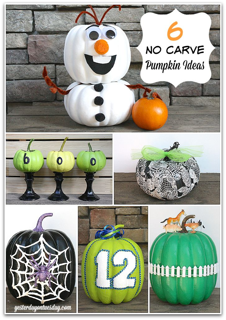 6 No Carve Pumpkin Ideas for Halloween. Make it once and use it for years to come! Great ideas including Olaf from Frozen.