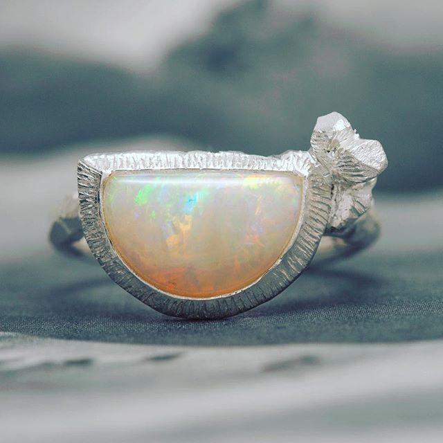 Coober Pedy opal and silver ring. I have met the miner and cutter of these stones and select them for their beauty.