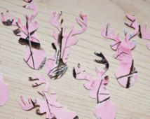 Pink RealTree camo deer confetti (large) - Pick your color. Baby shower confetti, camo decor, country wedding, hunting themed party