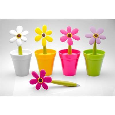 Penna colorata a margherita con vaso - Office - Montemaggi - Distribuzione Oggettistica Online, Ingrosso, Dettaglio