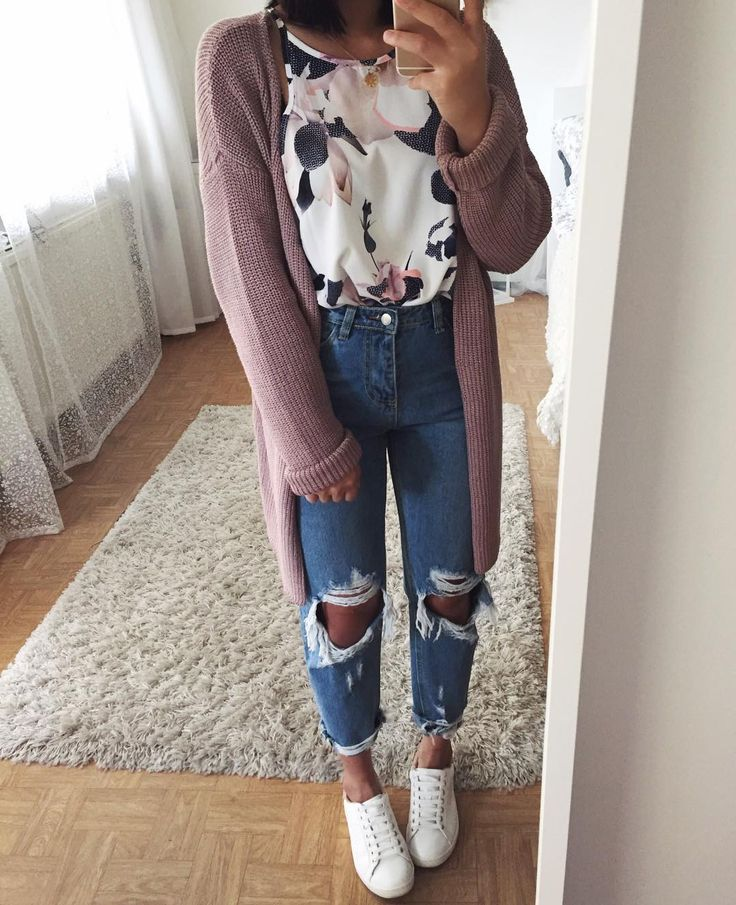 #fall #outfits flower shirt pastel long sweater ripped jeans sneakers