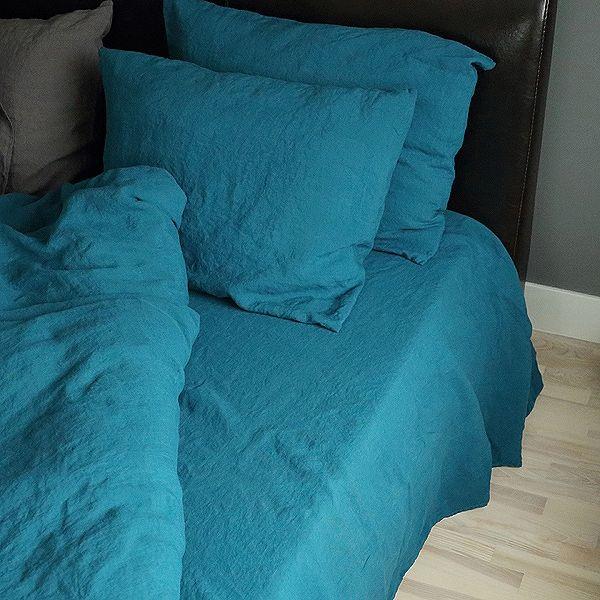 Sábana Bajera Ajustada de Lino Marine Blue Stone Washed - Lino de Cama - LinenMe