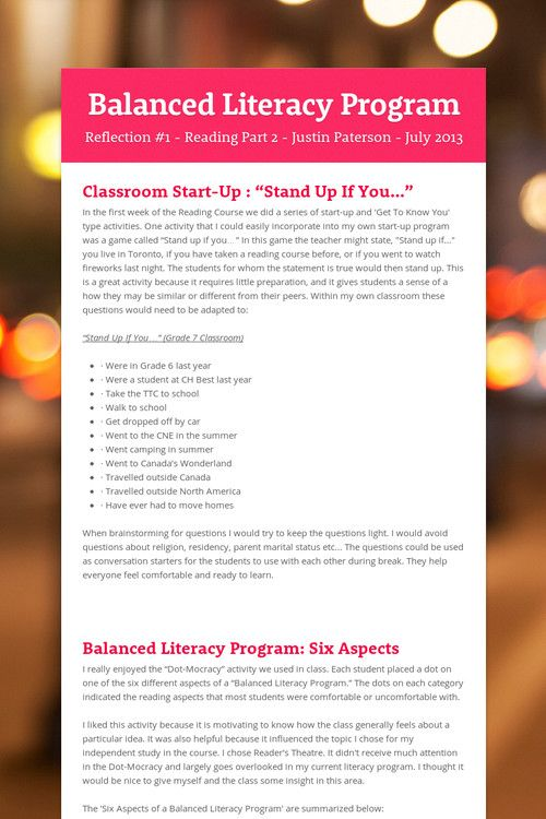 effective balanced literacy programs A balanced literacy program incorporates six components of knowledge into your teaching strategies to have an effective balanced literacy program, .