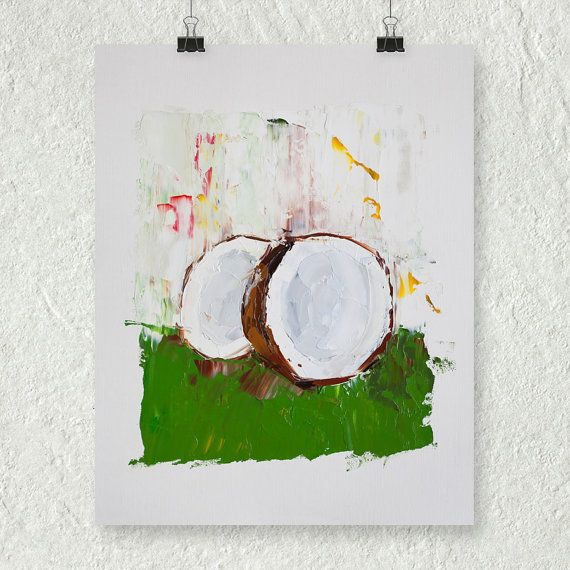 Coconut Painting Impasto Painting Small Oil Painting by ebuchmann, $100.00