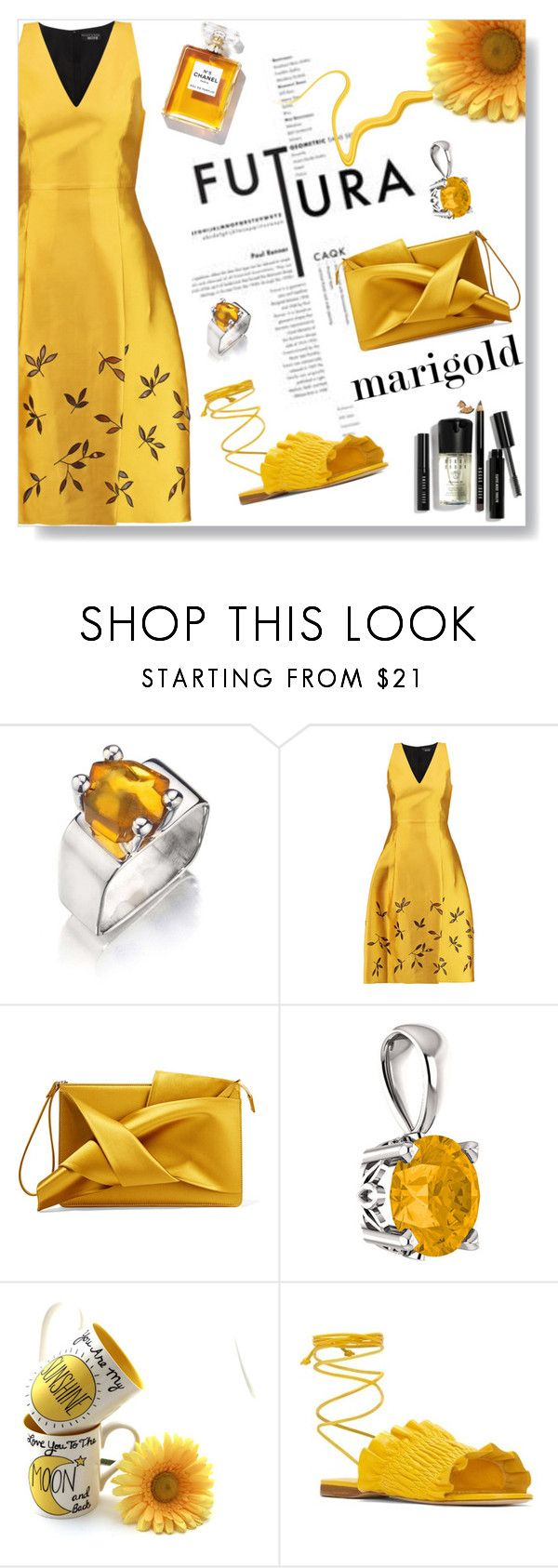 """Stay Golden: Dressing in Marigold"" by lacas ❤ liked on Polyvore featuring NOIR Sachin + Babi, N°21, Chanel, Mercedes Castillo, Bobbi Brown Cosmetics and marigold"