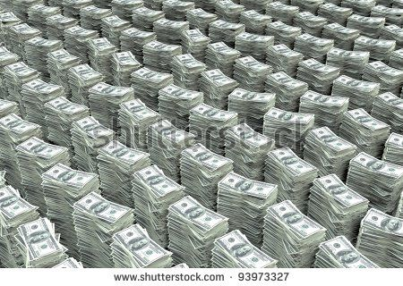Big Stack of Money | Big stack of money 100 dollar bills - stock photo
