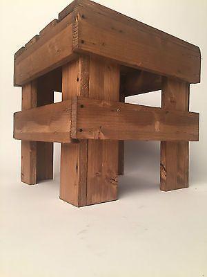 sgabello pallet EPAL sedia cubo pouf puffo legno Abete scuro 38x38x38 bar pub