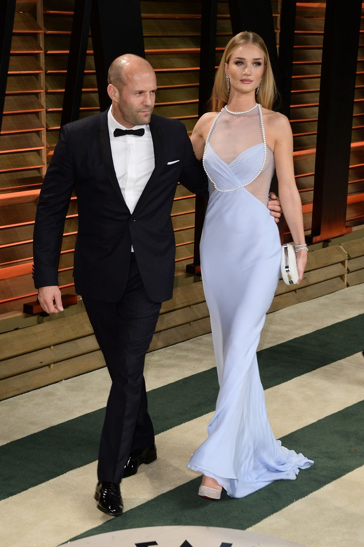 Rosie Huntington-Whiteley stepped out alongside Jason Statham at the Vanity Fair Oscars party