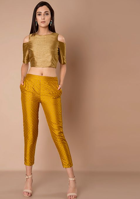 696ac43168a1c6 Cigarette Pants - Mustard Brocade #Fashion #FabAlley #Party #PartyWear # Bottom #Indya #CigarettePants #Brocade #Mustard
