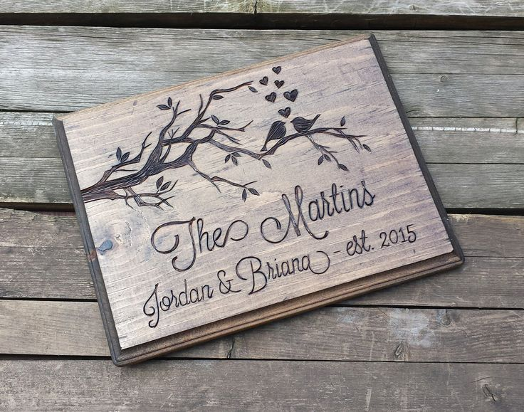 """Wood sign, wooden sign, wooden wall plaque, custom personalized sign, wedding sign, memorial plaque, custom wooden sign. Design copyright 2015 Arrowsarah In this listing I am offering a rustic wooden plaque that I wood burn and finish by hand. I do not use a laser engraver. All of the wood burning in my shop is done in my studio with a professional pyrography tool. This rectangular sign measures approximately 10.5"""" x 7.75"""" and comes with a picture hanger attached on the back. I can…"""