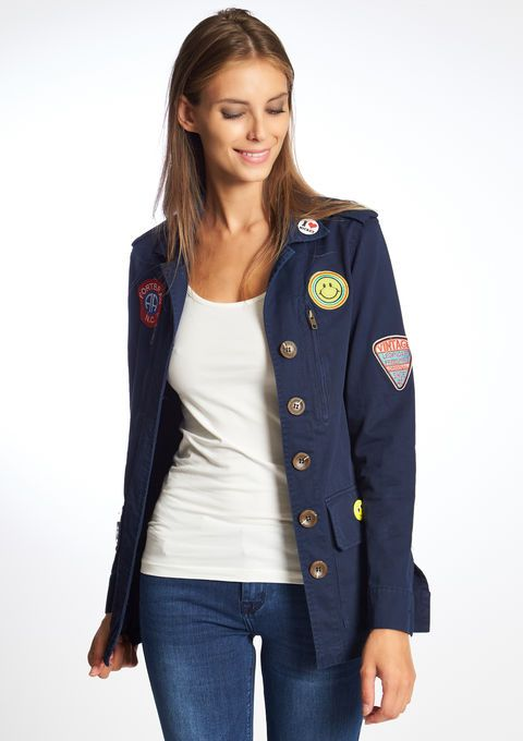 Lola Liza .com Jacket military Jas in militaire stijl met badges - NAVY MARINE - 09000827_1650