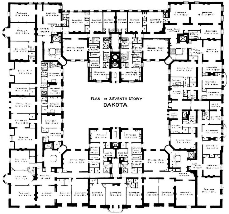 7th floor plan of the famous dakota building new york for Apartment floor plans new york city
