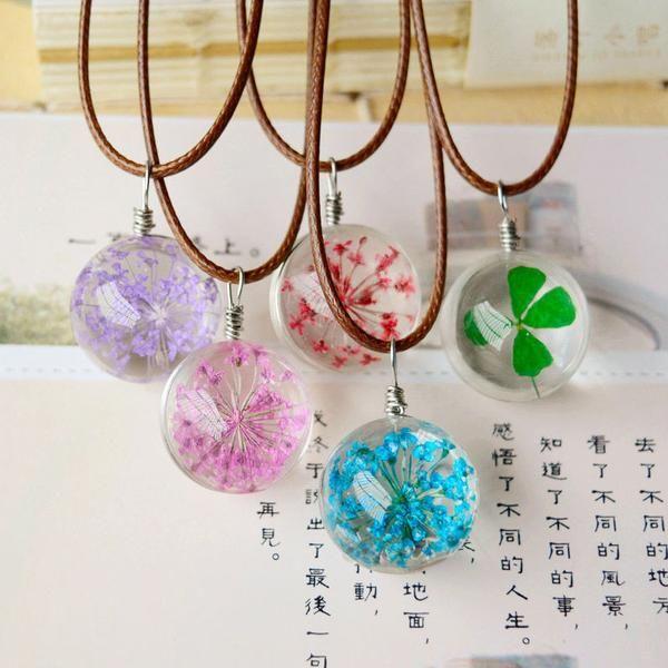 CL DRIED FLOWER glass balls pendant