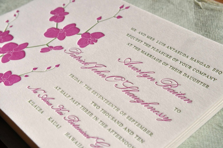 Two-color Custom Letterpress Digitally Designed Personalized Orchid Wedding Invitation Suite - 3 pieces