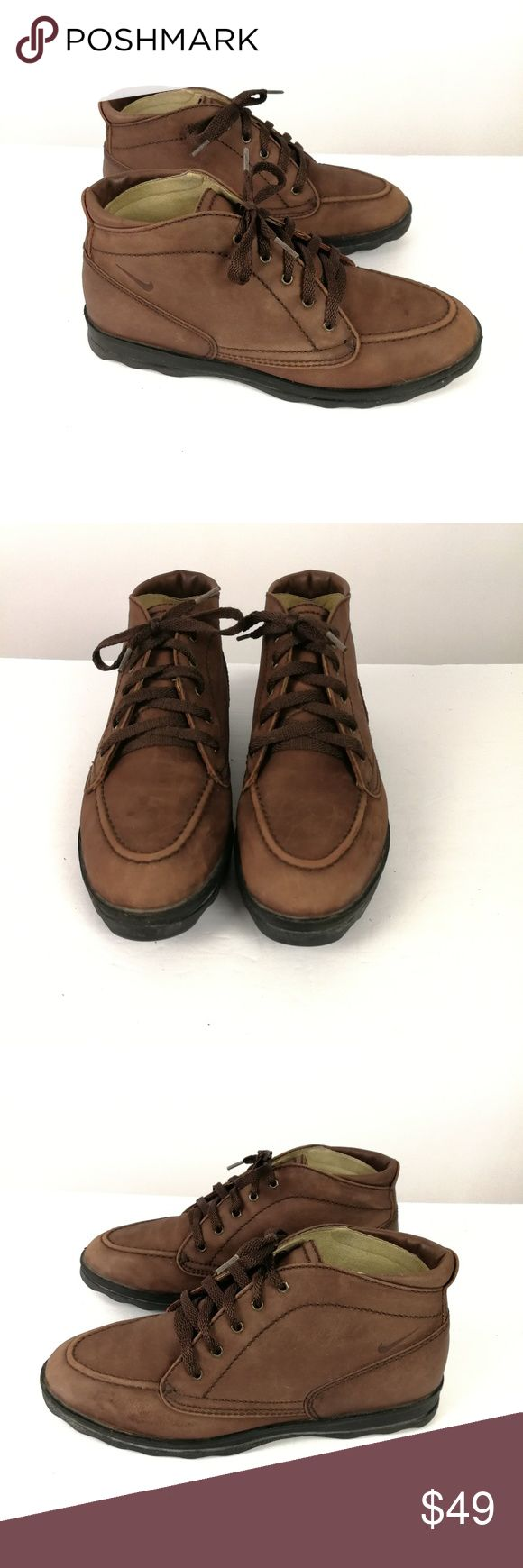 Nike Air Ankle Hiking Boots  Size 8.5 Leather Lace Nike Air Ankle Hiking Boots  Size 8.5  Leather Upper  Man-made Sole  Brown  Lace-up  Very Good Condition  Light wear Nike Shoes Ankle Boots & Booties