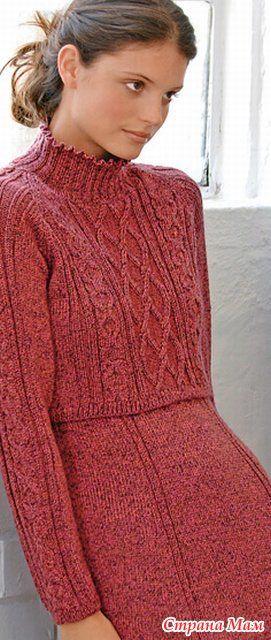 Платье и короткий свитер (спицы, описание на французском)