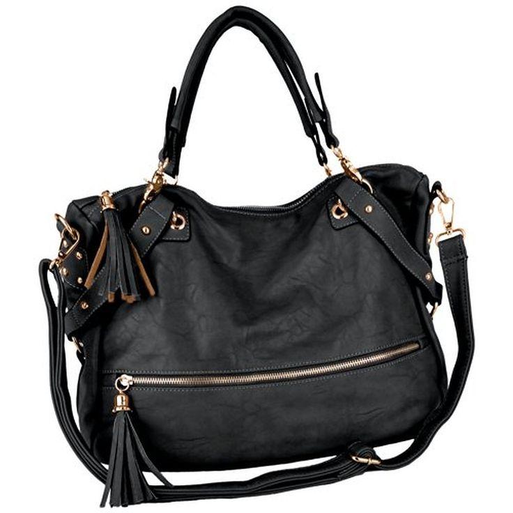 Tassel Décor Fashion Shopper Tote Style Slouchy Hobo Handbag w/ Shoulder Strap
